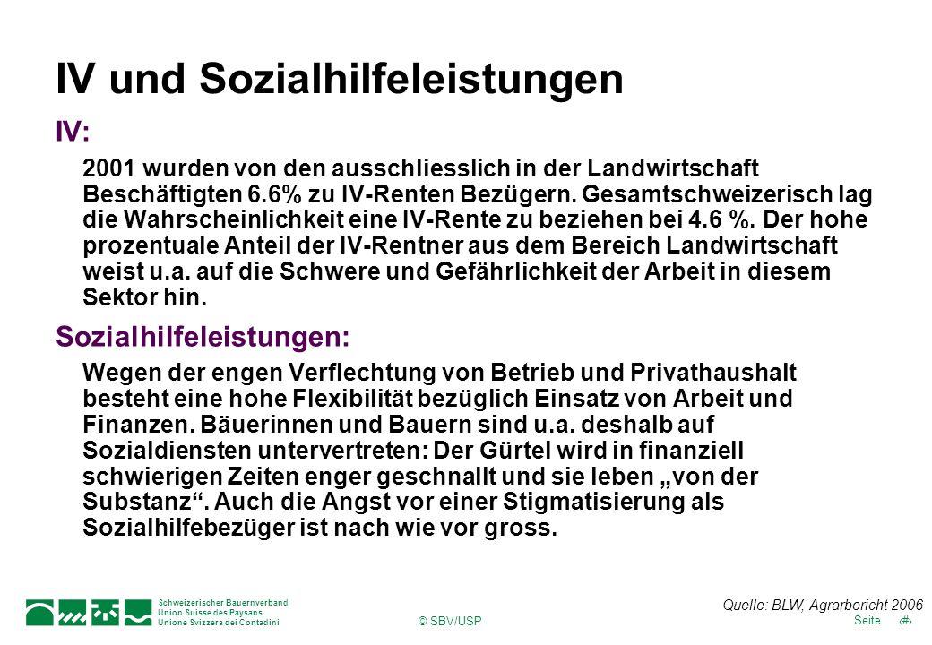 Schweizerischer Bauernverband Union Suisse des Paysans Unione Svizzera dei Contadini 31Seite © SBV/USP IV und Sozialhilfeleistungen IV: 2001 wurden von den ausschliesslich in der Landwirtschaft Beschäftigten 6.6% zu IV-Renten Bezügern.