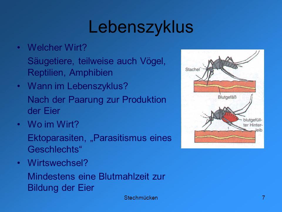 Stechmücken7 Lebenszyklus Welcher Wirt? Säugetiere, teilweise auch Vögel, Reptilien, Amphibien Wann im Lebenszyklus? Nach der Paarung zur Produktion d