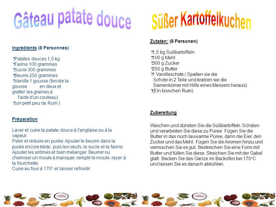 Préparation Laver et cuire la patate douce à l anglaise ou à la vapeur.