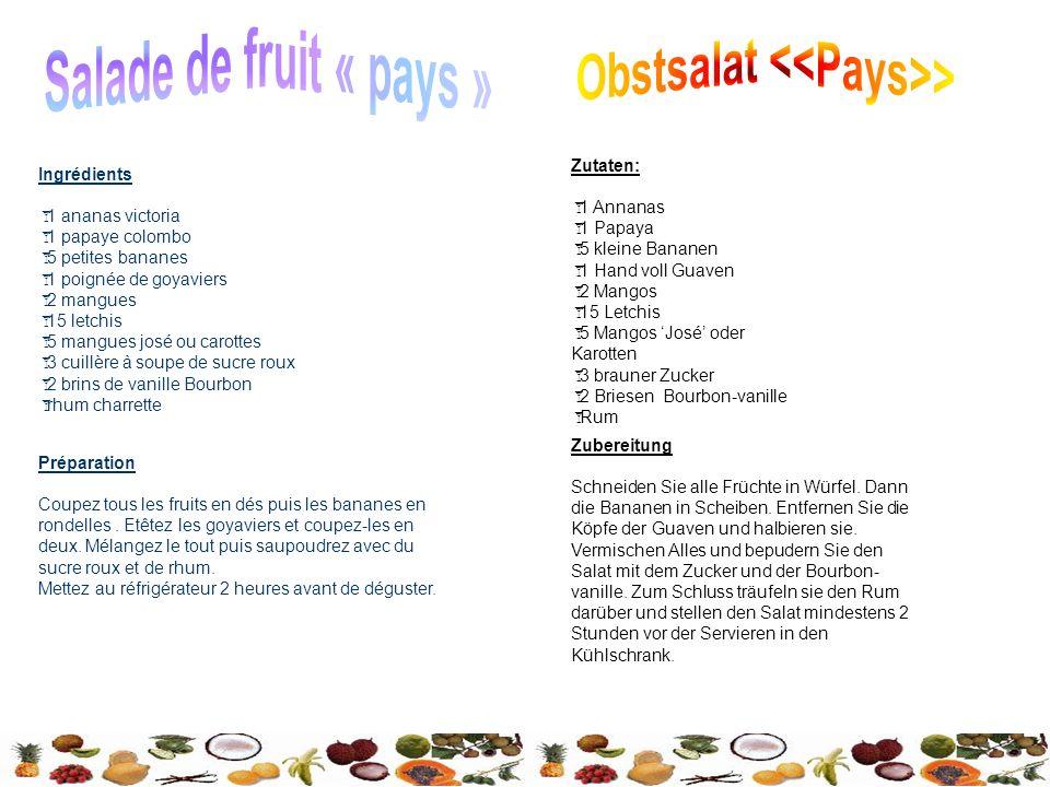Zutaten: 1 Annanas 1 Papaya 5 kleine Bananen 1 Hand voll Guaven 2 Mangos 15 Letchis 5 Mangos José oder Karotten 3 brauner Zucker 2 Briesen Bourbon-vanille Rum Zubereitung Schneiden Sie alle Früchte in Würfel.