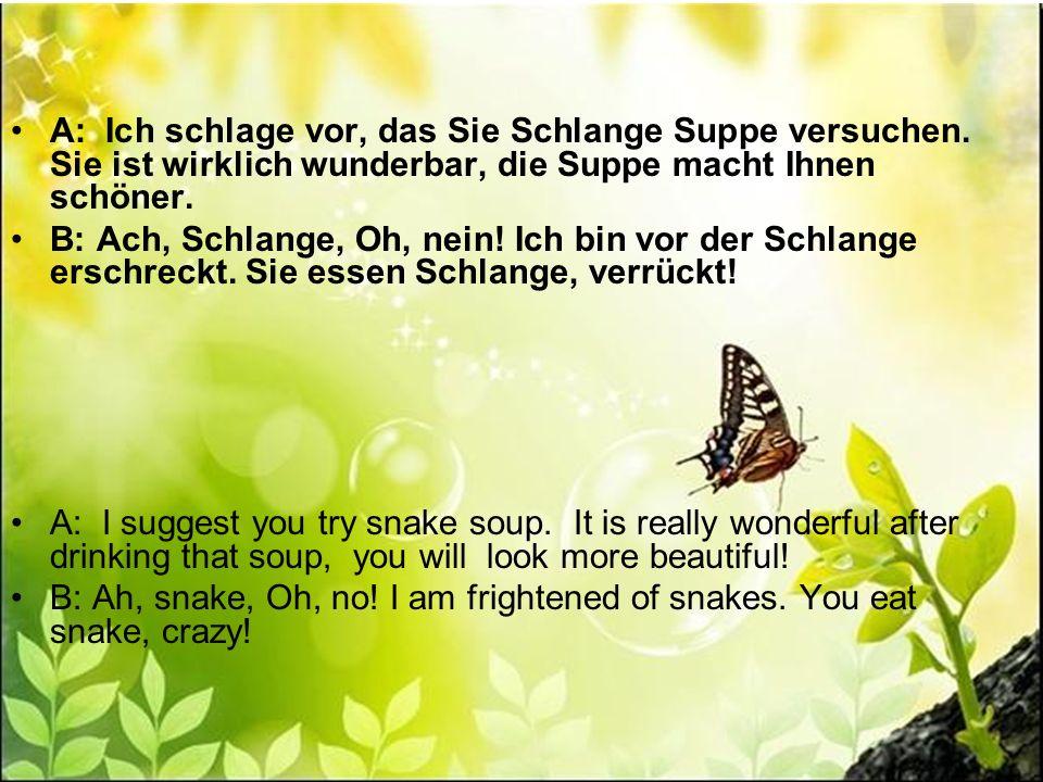 A: Ich schlage vor, das Sie Schlange Suppe versuchen. Sie ist wirklich wunderbar, die Suppe macht Ihnen schöner. B: Ach, Schlange, Oh, nein! Ich bin v