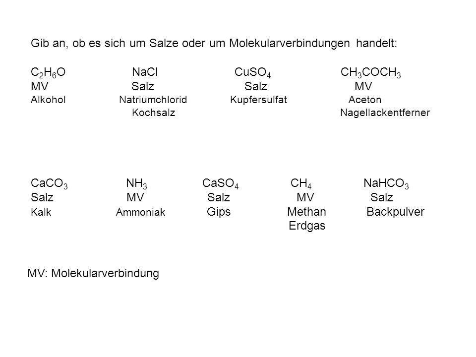 Gib an, ob es sich um Salze oder um Molekularverbindungen handelt: C 2 H 6 O NaCl CuSO 4 CH 3 COCH 3 MV Salz Salz MV Alkohol Natriumchlorid Kupfersulf
