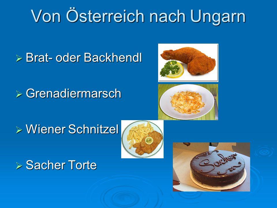 Von Ungarn nach Österreich Palatschinken Palatschinken Szegediner Gulasch mit Eiergraupen Szegediner Gulasch mit Eiergraupen Esterhazy Torte Esterhazy Torte