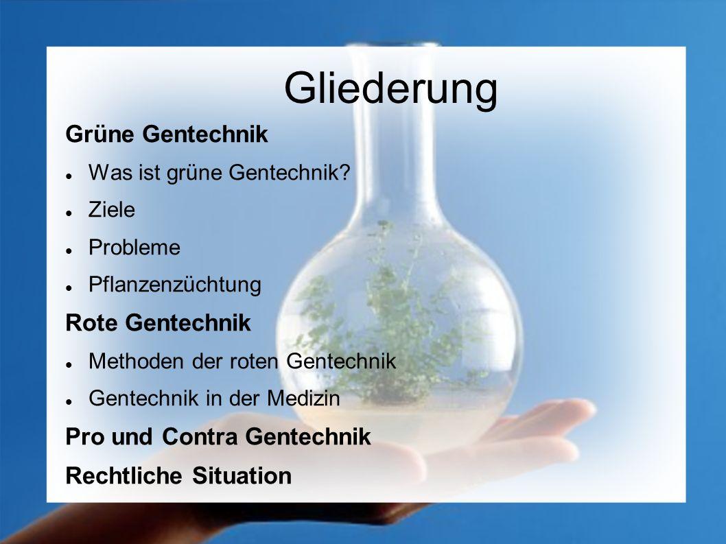 Gliederung Grüne Gentechnik Was ist grüne Gentechnik? Ziele Probleme Pflanzenzüchtung Rote Gentechnik Methoden der roten Gentechnik Gentechnik in der