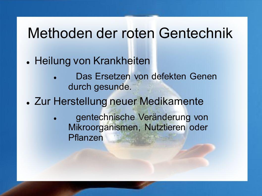 Gentechnik in der Medizin Herstellung vieler Produkte mit gentechnisch veränderten Bakterien.