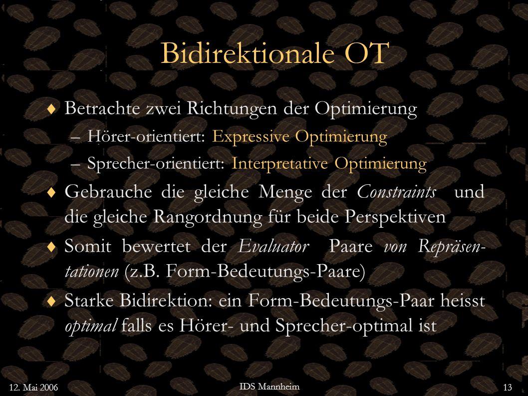 12. Mai 2006 IDS Mannheim 13 Bidirektionale OT Betrachte zwei Richtungen der Optimierung –Hörer-orientiert: Expressive Optimierung –Sprecher-orientier
