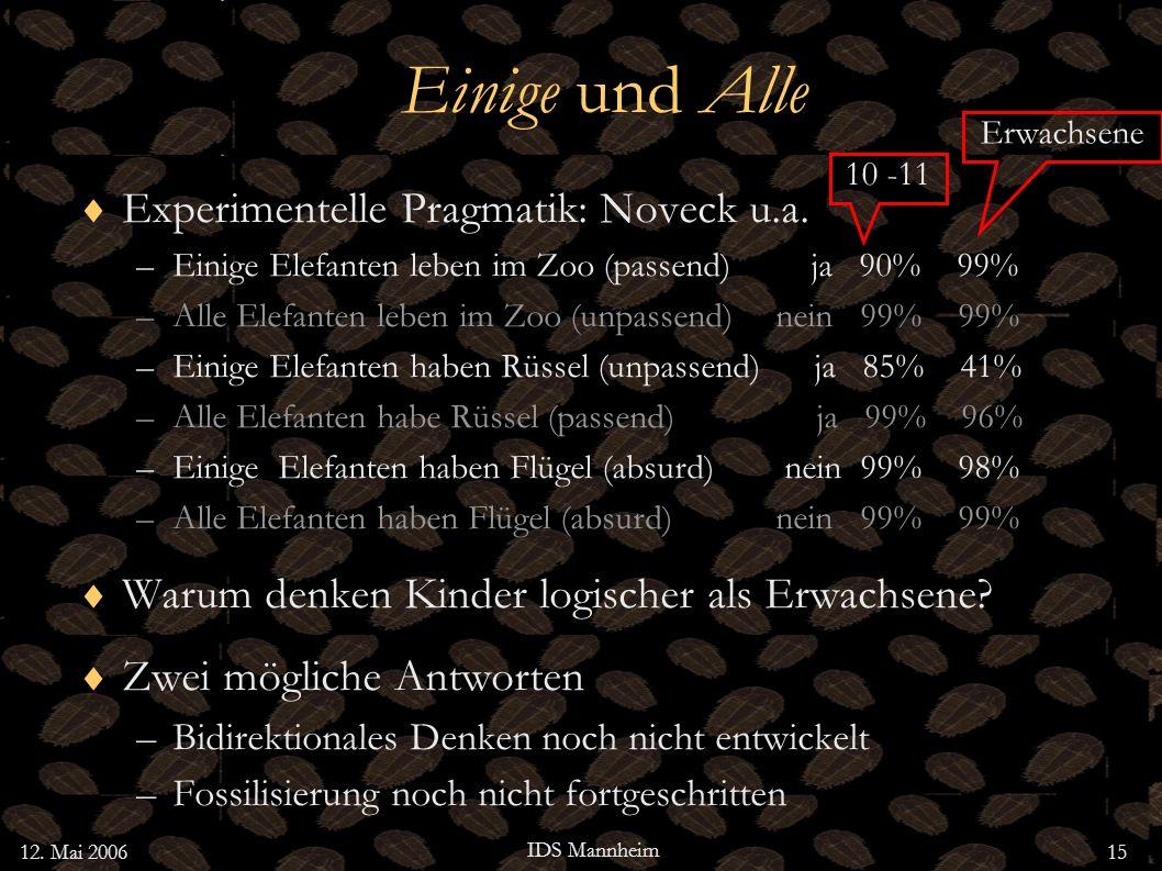 12. Mai 2006 IDS Mannheim 15 Einige und Alle Experimentelle Pragmatik: Noveck u.a. –Einige Elefanten leben im Zoo (passend) ja 90% 99% –Alle Elefanten