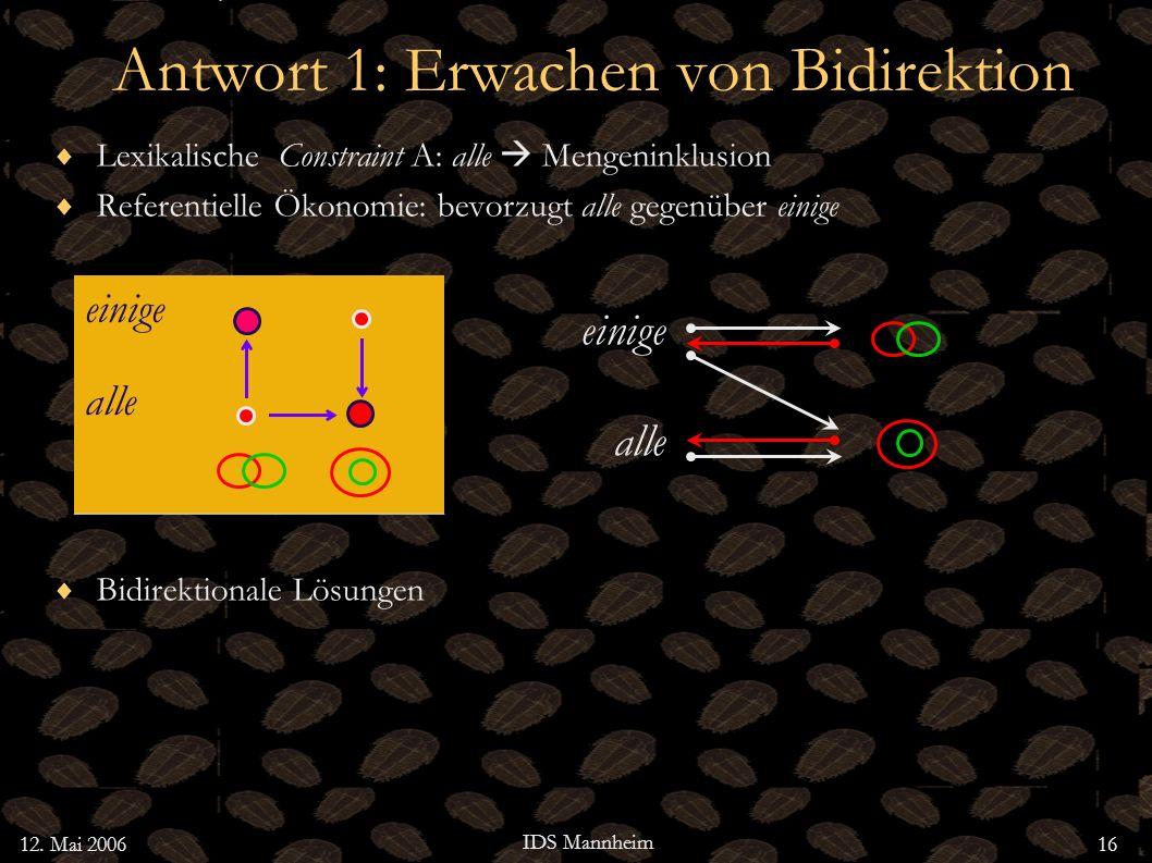 12. Mai 2006 IDS Mannheim 16 Antwort 1: Erwachen von Bidirektion Lexikalische Constraint A: alle Mengeninklusion Referentielle Ökonomie: bevorzugt all