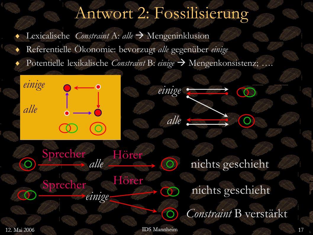 12. Mai 2006 IDS Mannheim 17 Antwort 2: Fossilisierung Lexicalische Constraint A: alle Mengeninklusion Referentielle Ökonomie: bevorzugt alle gegenübe