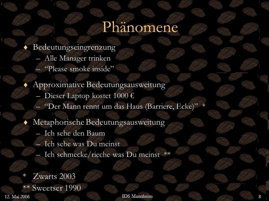 12. Mai 2006 IDS Mannheim 8 Phänomene Bedeutungseingrenzung –Alle Manager trinken –Please smoke inside Approximative Bedeutungsausweitung –Dieser Lapt