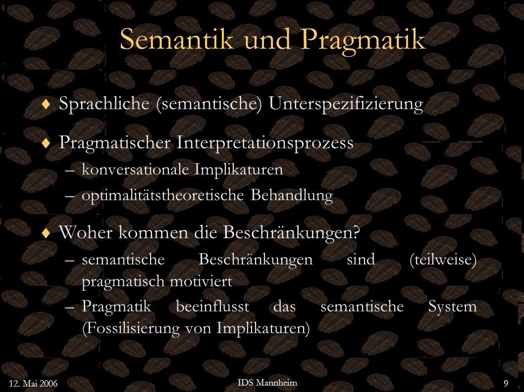 3 Pragmatik in OT Konversationelle Implikaturen Bidirectionale OT Ein Problem für Neo-Grice Bidirektionale Optimierung und online Sprachverarbeitung