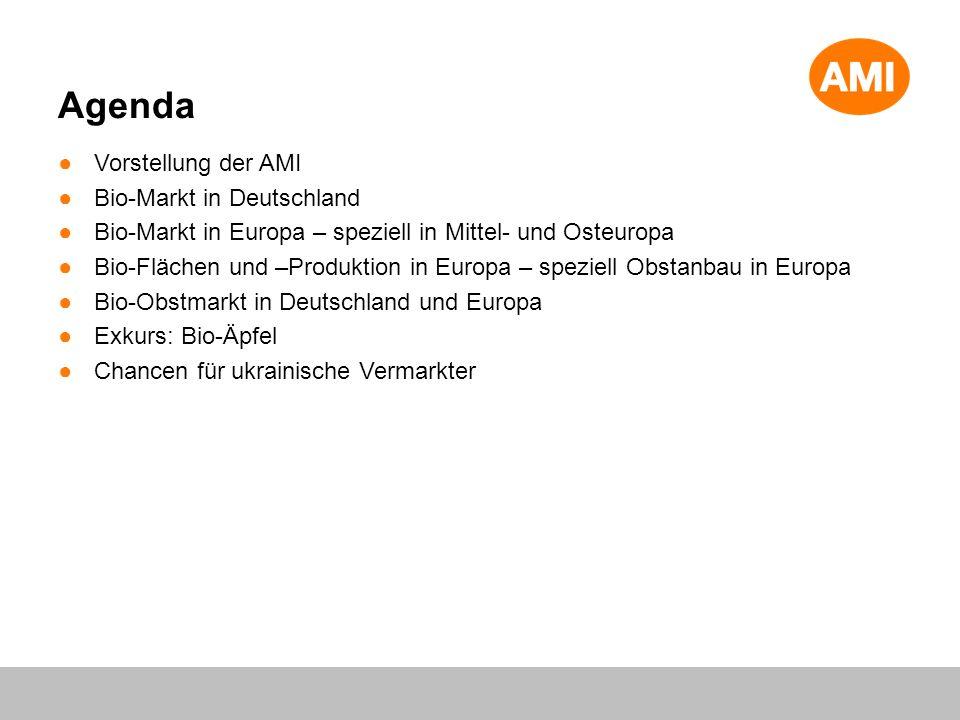 Vorstellung der AMI Bio-Markt in Deutschland Bio-Markt in Europa – speziell in Mittel- und Osteuropa Bio-Flächen und –Produktion in Europa – speziell