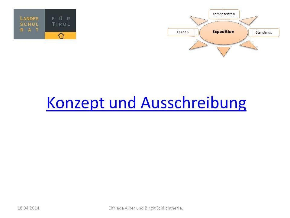 Expedition Kompetenzen StandardsLernen Konzept und Ausschreibung 18.04.2014 Elfriede Alber und Birgit Schlichtherle,