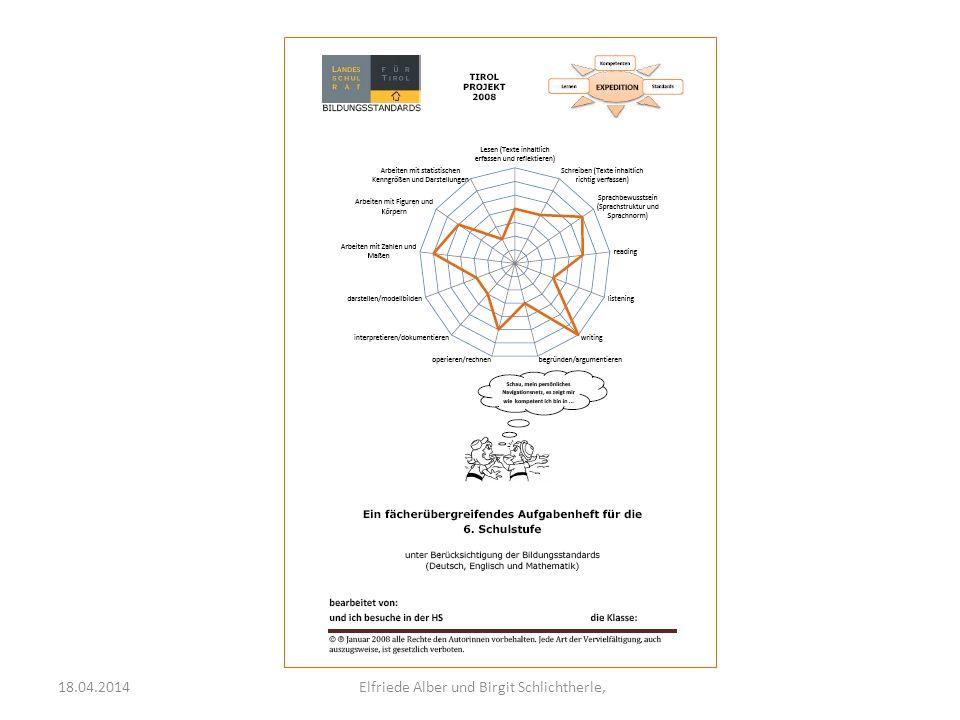 Expedition Kompetenzen StandardsLernen Lernstanderhebung mit Rückmeldung an die Schülerinnen und Schüler die Schulleitung die Lehrerinnen und Lehrer Kompetenznetz und Liste mit den überprüften Kompetenzen Fachbericht mit Leistungsgruppen- vergleich und Aufgabenstellungen Schulbericht Tirolvergleich 18.04.2014 Elfriede Alber und Birgit Schlichtherle,