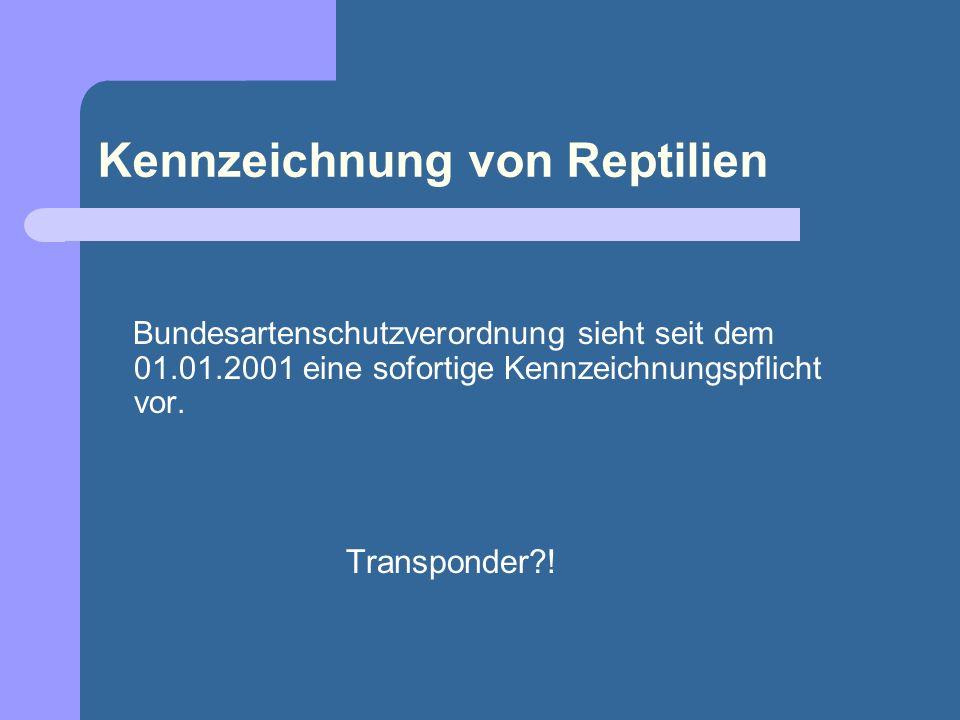 Kennzeichnung von Reptilien Bundesartenschutzverordnung sieht seit dem 01.01.2001 eine sofortige Kennzeichnungspflicht vor. Transponder?!