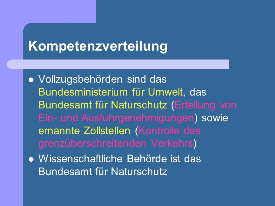 Kompetenzverteilung Vollzugsbehörden sind das Bundesministerium für Umwelt, das Bundesamt für Naturschutz (Erteilung von Ein- und Ausfuhrgenehmigungen