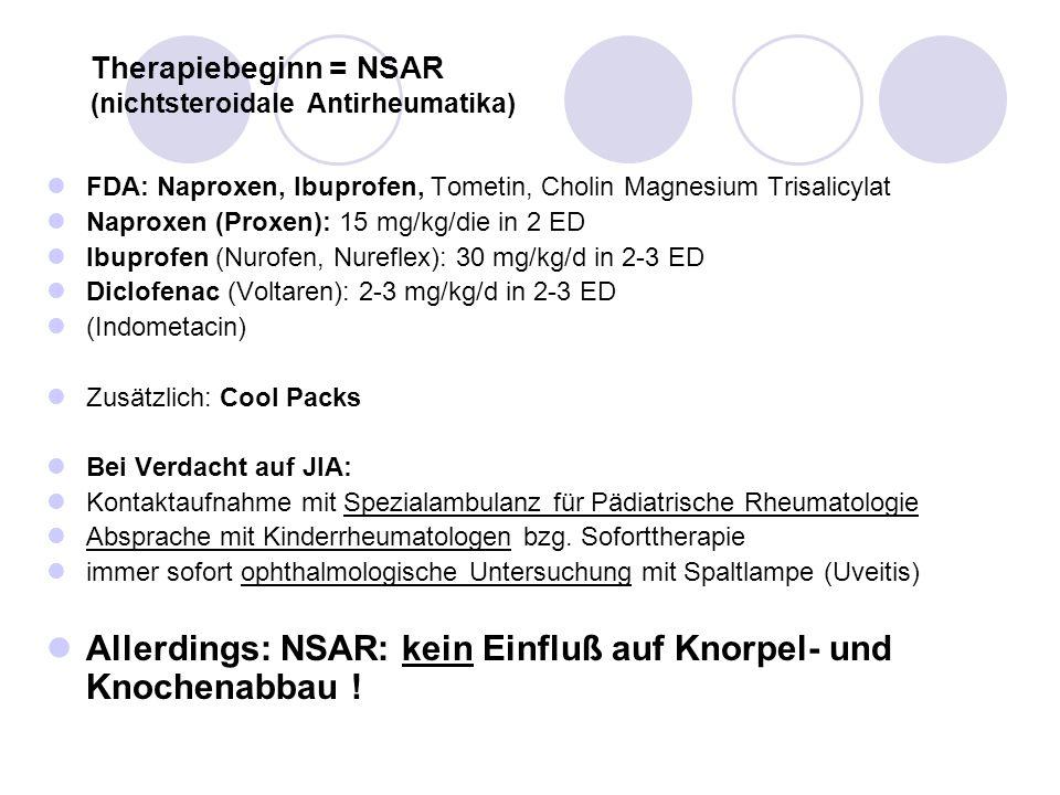 Therapiebeginn = NSAR (nichtsteroidale Antirheumatika) FDA: Naproxen, Ibuprofen, Tometin, Cholin Magnesium Trisalicylat Naproxen (Proxen): 15 mg/kg/di