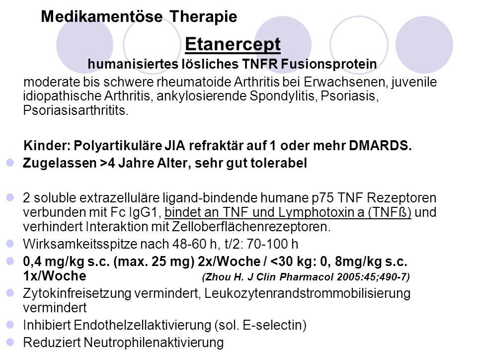 Medikamentöse Therapie Etanercept humanisiertes lösliches TNFR Fusionsprotein moderate bis schwere rheumatoide Arthritis bei Erwachsenen, juvenile idi