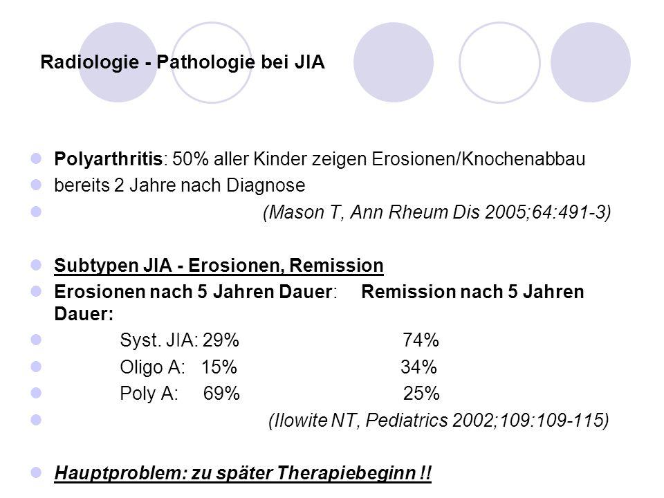 Radiologie - Pathologie bei JIA Polyarthritis: 50% aller Kinder zeigen Erosionen/Knochenabbau bereits 2 Jahre nach Diagnose (Mason T, Ann Rheum Dis 20