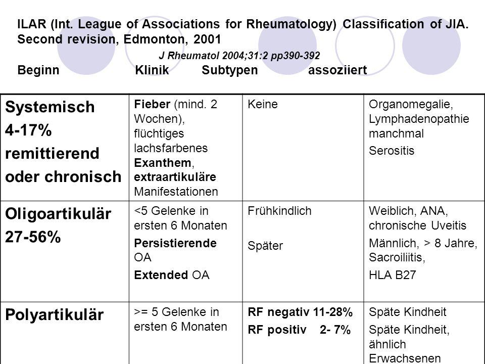 soJIA Blockade von IL1 oder IL6 Zu erwarten: deutliche Reduktion der schweren Nebenwirkungen der Corticosteroide