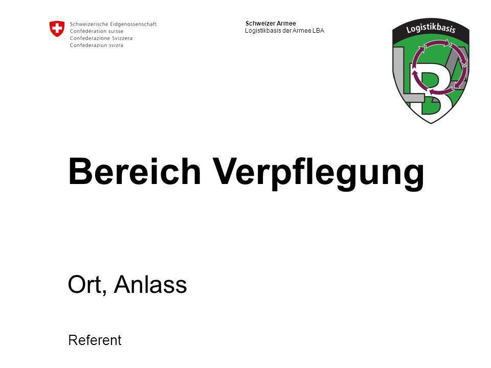 2 Schweizer Armee Logistikbasis der Armee LBA Bereich Verpflegung Zielsetzungen Die Reglementhierarchie im Verpflegungsdienst erklären Die Neuerungen in den Regl TH und KR anwenden Die neuen Materialsortimente (Regl Kü Syst) erläutern Das Hygienekonzept der Armee umsetzen Die Formulare der Selbstkontrolle richtig handhaben