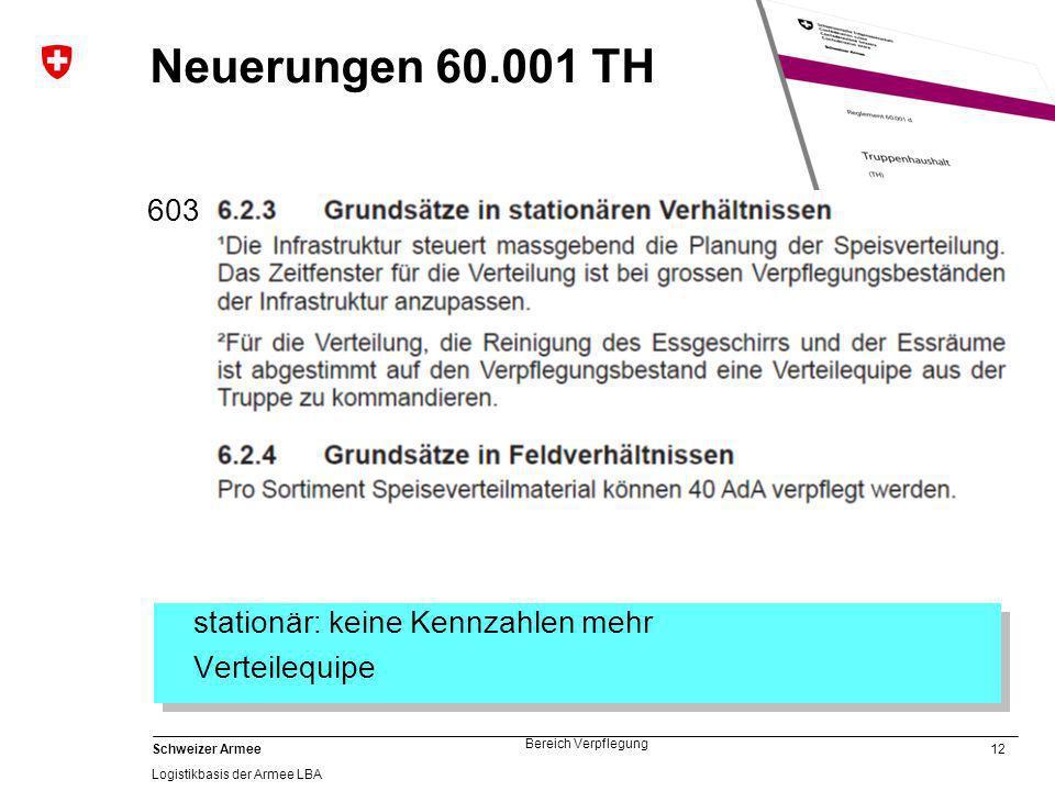 12 Schweizer Armee Logistikbasis der Armee LBA Bereich Verpflegung Neuerungen 60.001 TH 603 stationär: keine Kennzahlen mehr Verteilequipe stationär: keine Kennzahlen mehr Verteilequipe