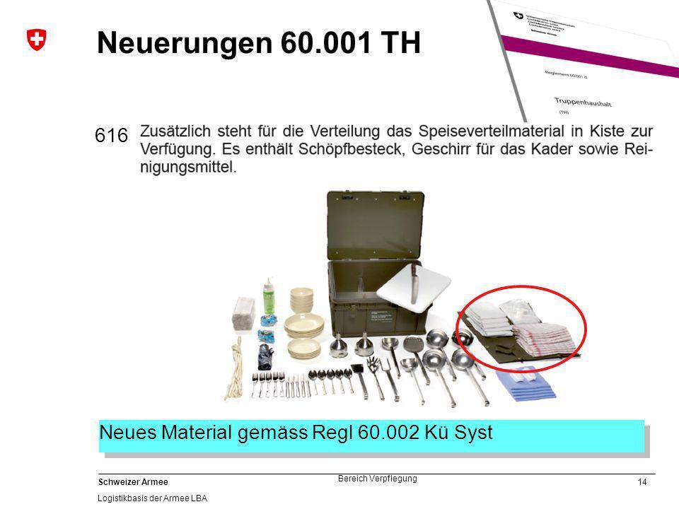 14 Schweizer Armee Logistikbasis der Armee LBA Bereich Verpflegung Neuerungen 60.001 TH 616 Neues Material gemäss Regl 60.002 Kü Syst