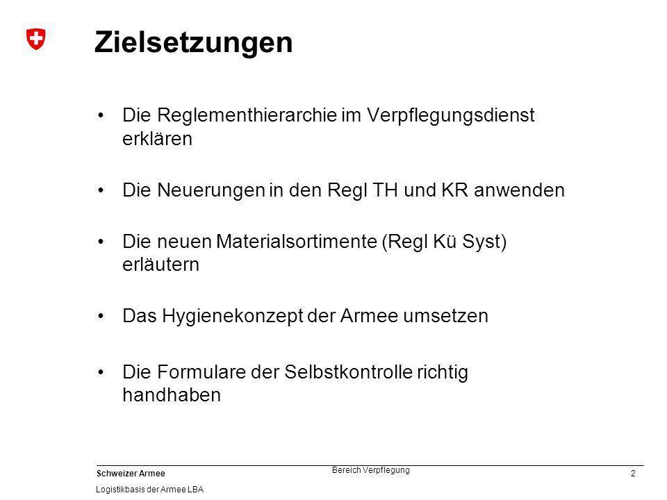 23 Schweizer Armee Logistikbasis der Armee LBA Bereich Verpflegung 60.002 Küchensysteme 100 Ergänzung von TH und KR