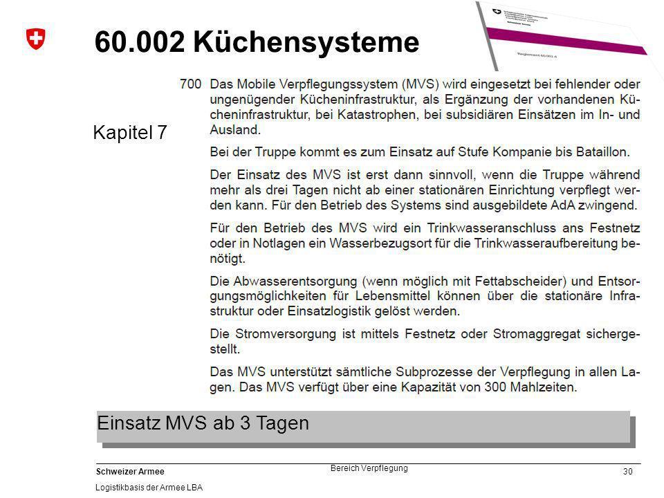 30 Schweizer Armee Logistikbasis der Armee LBA Bereich Verpflegung 60.002 Küchensysteme Kapitel 7 Einsatz MVS ab 3 Tagen