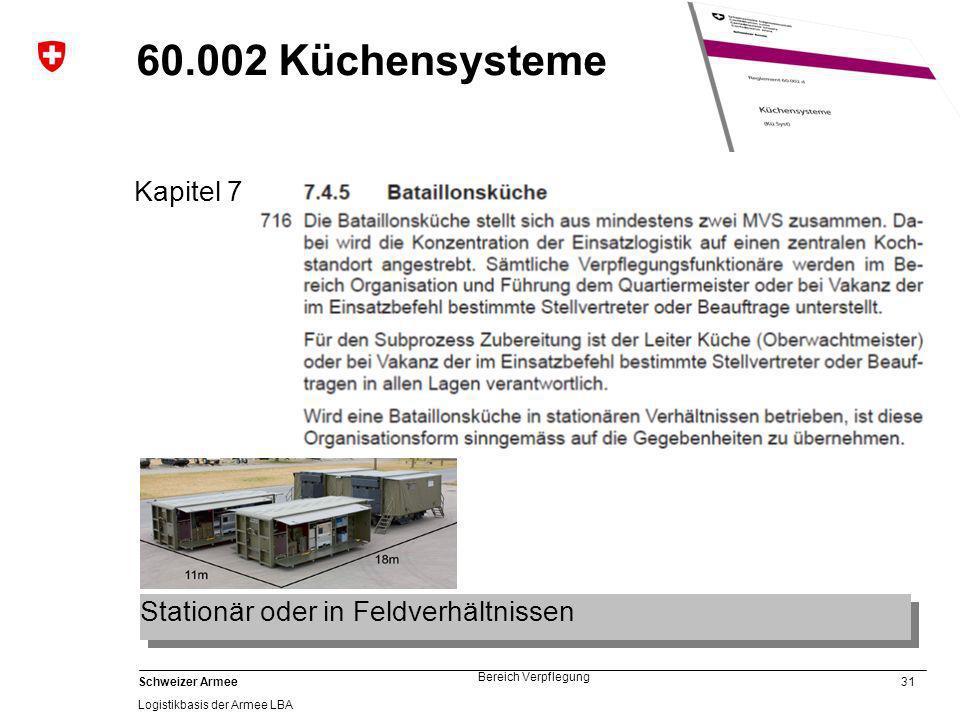 31 Schweizer Armee Logistikbasis der Armee LBA Bereich Verpflegung 60.002 Küchensysteme Kapitel 7 Stationär oder in Feldverhältnissen