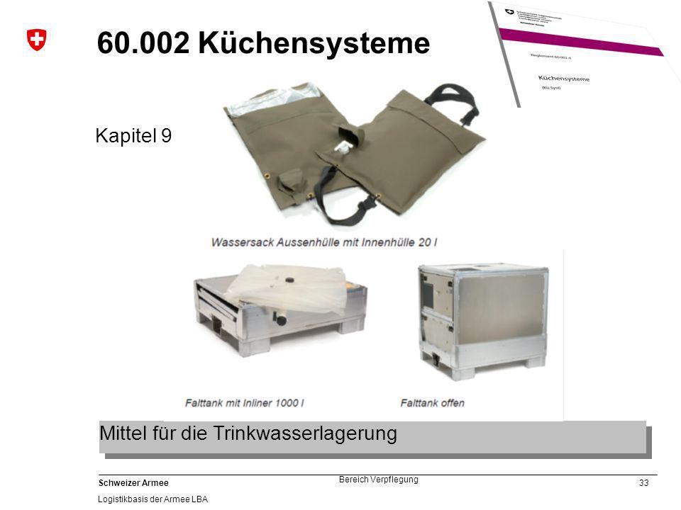 33 Schweizer Armee Logistikbasis der Armee LBA Bereich Verpflegung 60.002 Küchensysteme Kapitel 9 Mittel für die Trinkwasserlagerung