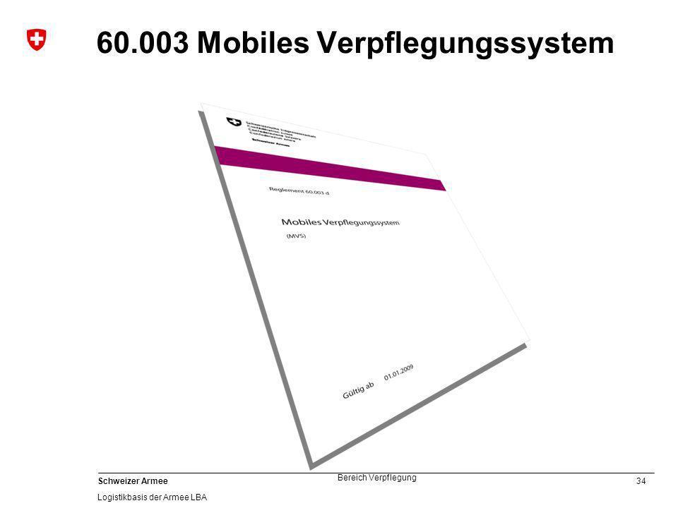 34 Schweizer Armee Logistikbasis der Armee LBA Bereich Verpflegung 60.003 Mobiles Verpflegungssystem