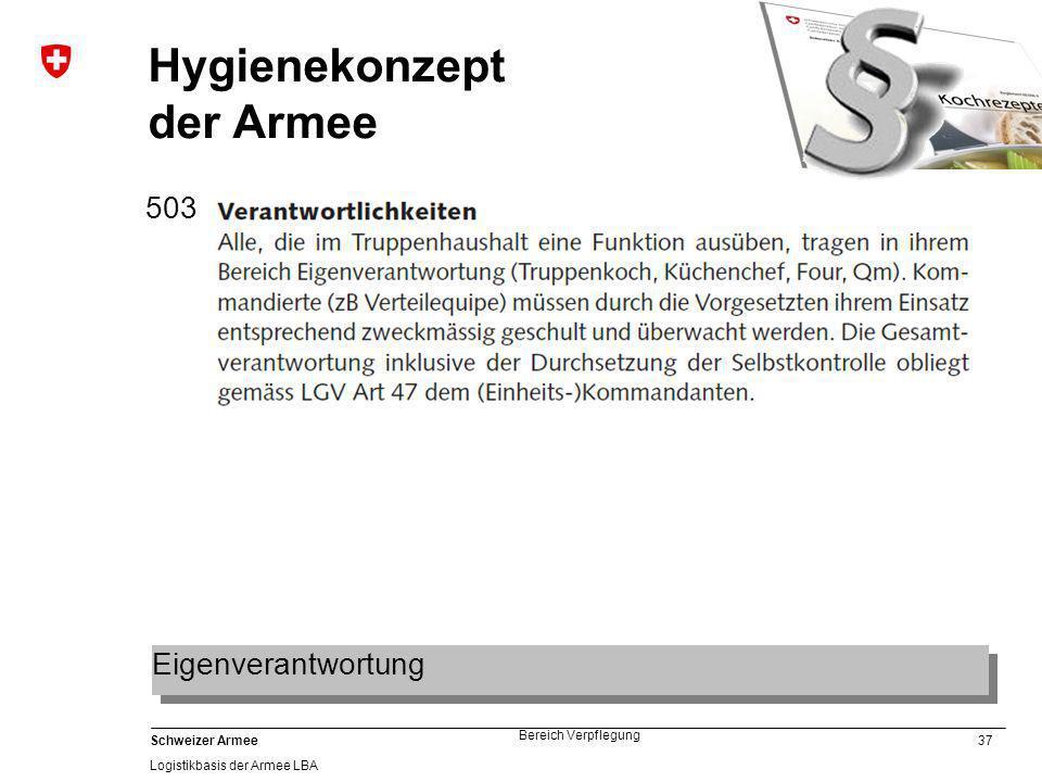 37 Schweizer Armee Logistikbasis der Armee LBA Bereich Verpflegung Hygienekonzept der Armee 503 Eigenverantwortung