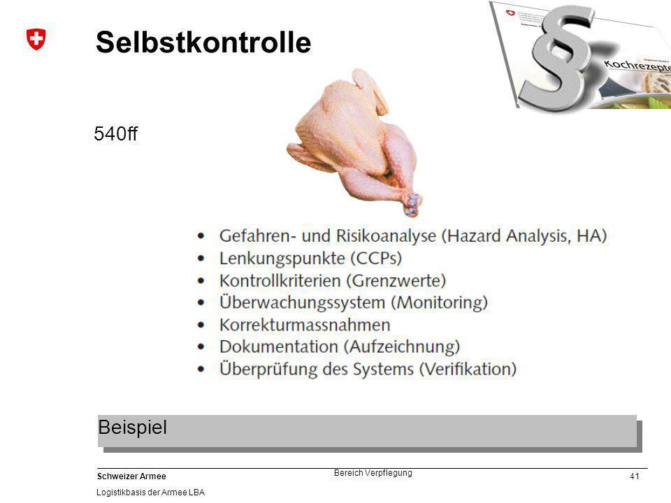 41 Schweizer Armee Logistikbasis der Armee LBA Bereich Verpflegung Selbstkontrolle 540ff Beispiel
