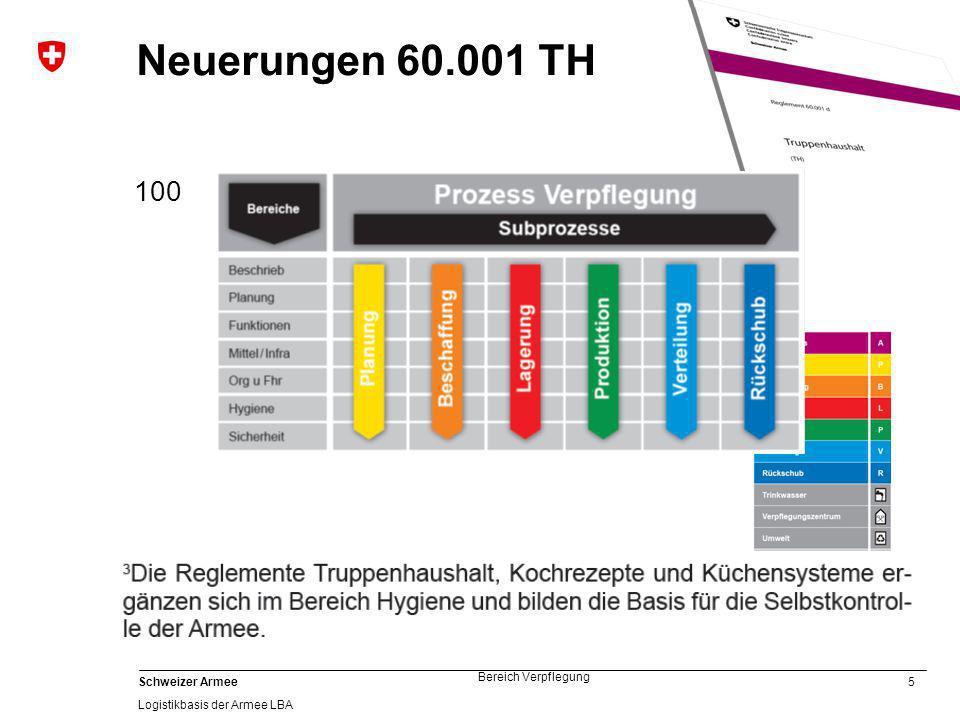 5 Schweizer Armee Logistikbasis der Armee LBA Bereich Verpflegung Neuerungen 60.001 TH Trp Koch Det Koch, Trp Buchhalter und NS Of fallen weg 100