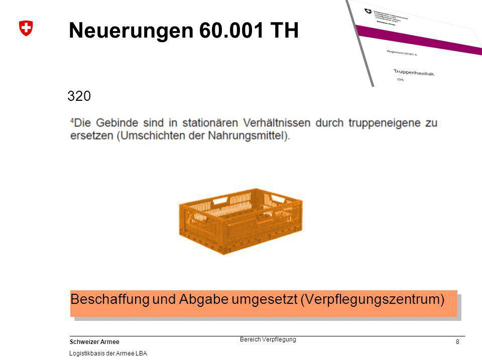 9 Schweizer Armee Logistikbasis der Armee LBA Bereich Verpflegung Neuerungen 60.001 TH Anpassung an Gesetzgebung 326