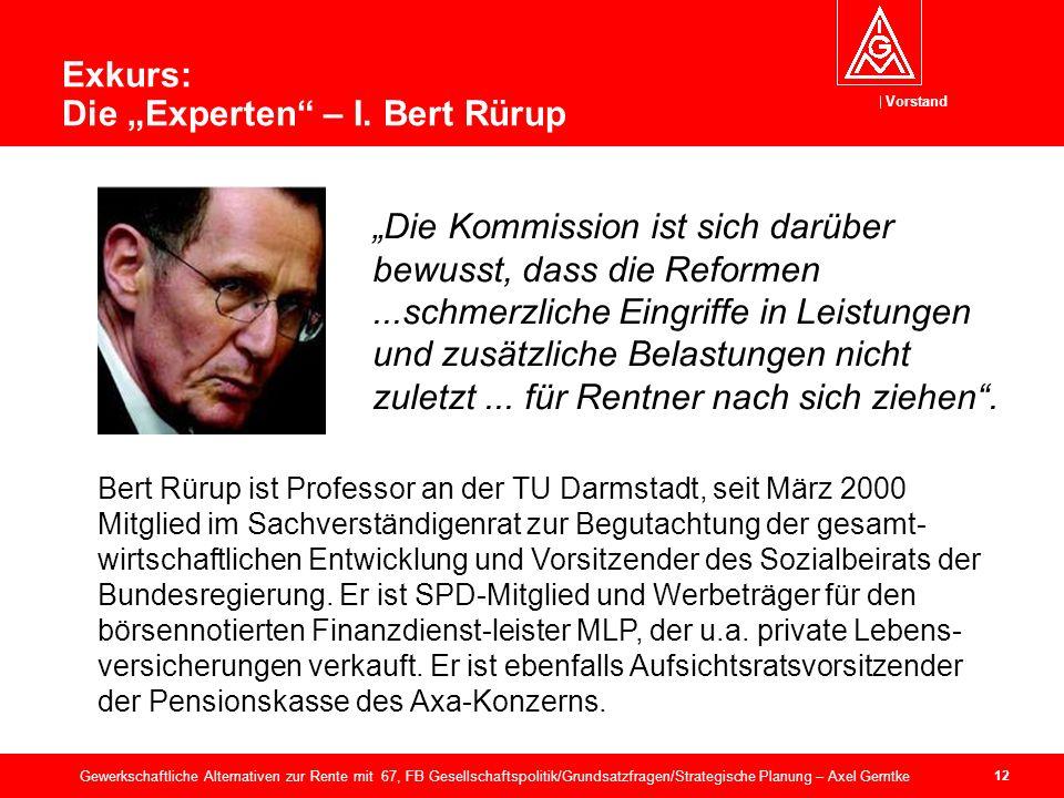 Vorstand 12 Gewerkschaftliche Alternativen zur Rente mit 67, FB Gesellschaftspolitik/Grundsatzfragen/Strategische Planung – Axel Gerntke Exkurs: Die Experten – I.