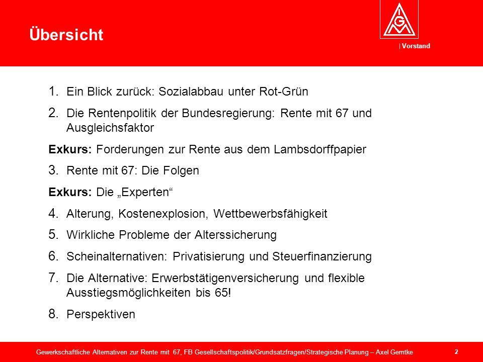 Vorstand 2 Gewerkschaftliche Alternativen zur Rente mit 67, FB Gesellschaftspolitik/Grundsatzfragen/Strategische Planung – Axel Gerntke Übersicht 1.