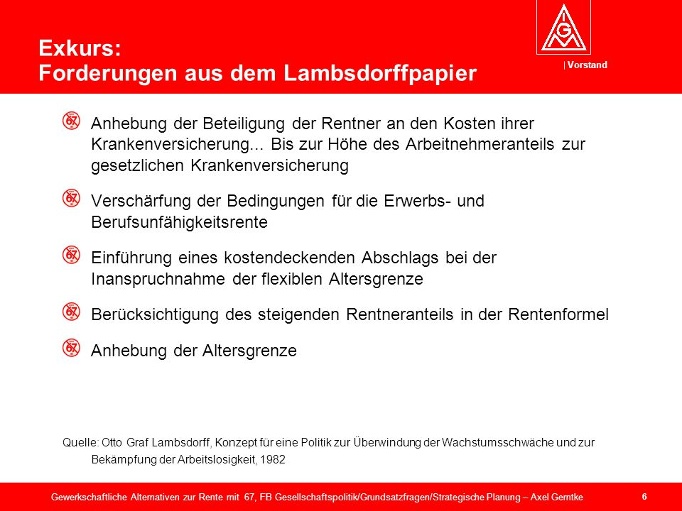 Vorstand 37 Gewerkschaftliche Alternativen zur Rente mit 67, FB Gesellschaftspolitik/Grundsatzfragen/Strategische Planung – Axel Gerntke Quelle: Alterssicherung auf gutem Weg, BMAS und BMF, 28.