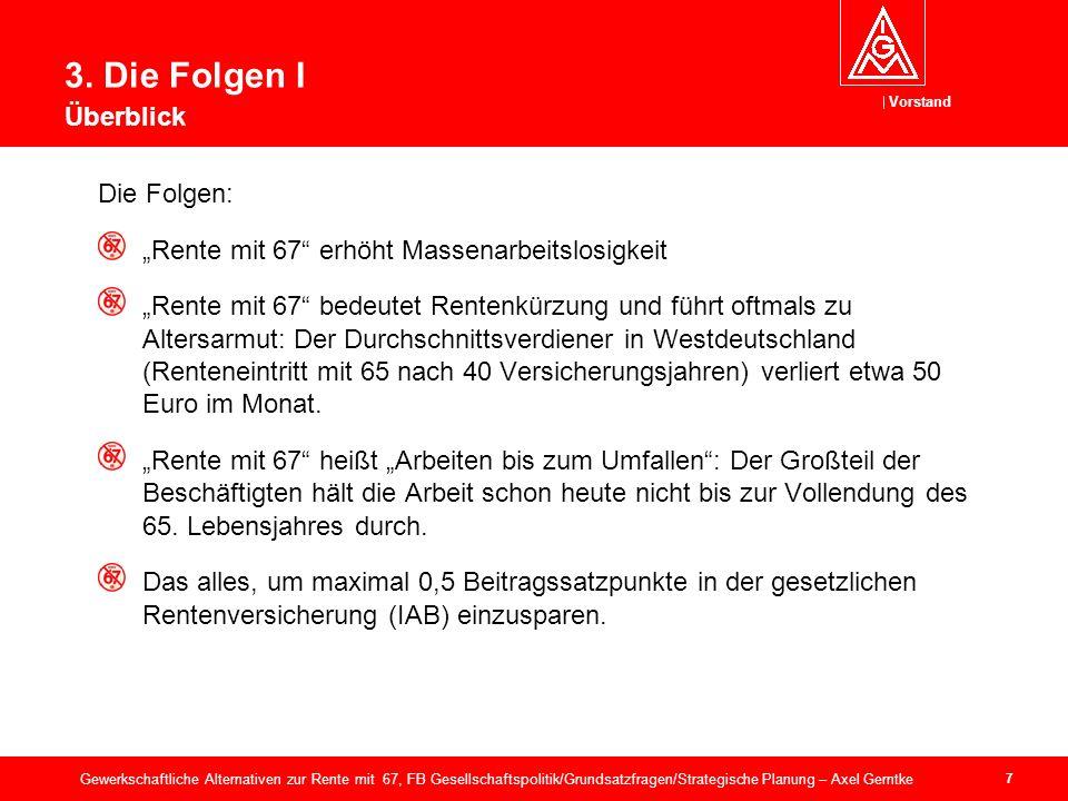 Vorstand 28 Gewerkschaftliche Alternativen zur Rente mit 67, FB Gesellschaftspolitik/Grundsatzfragen/Strategische Planung – Axel Gerntke 6.