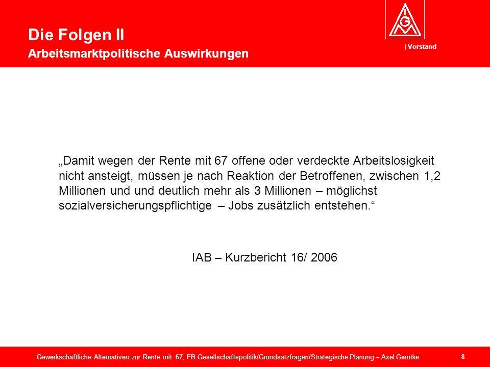 Vorstand 29 Gewerkschaftliche Alternativen zur Rente mit 67, FB Gesellschaftspolitik/Grundsatzfragen/Strategische Planung – Axel Gerntke 6.