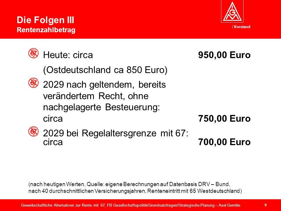 Vorstand 40 Gewerkschaftliche Alternativen zur Rente mit 67, FB Gesellschaftspolitik/Grundsatzfragen/Strategische Planung – Axel Gerntke Scheinalternativen VI: Steuerfinanzierung.
