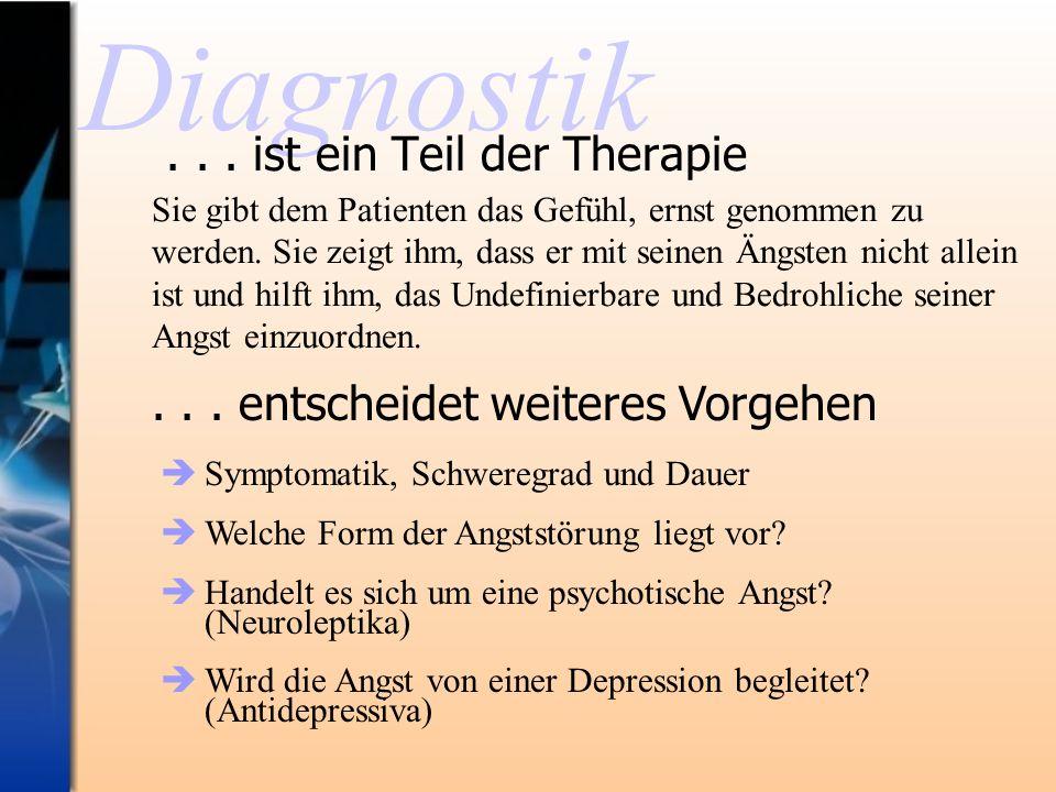 Diagnostik... ist ein Teil der Therapie Sie gibt dem Patienten das Gefühl, ernst genommen zu werden. Sie zeigt ihm, dass er mit seinen Ängsten nicht a