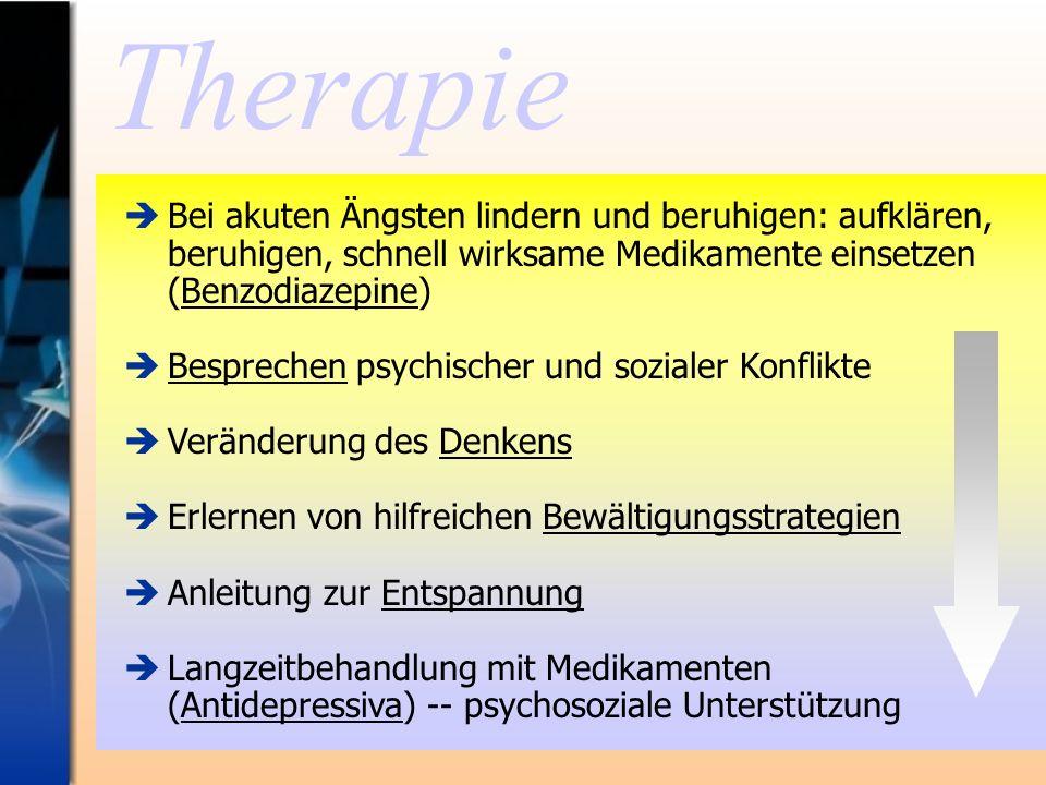 Therapie Bei akuten Ängsten lindern und beruhigen: aufklären, beruhigen, schnell wirksame Medikamente einsetzen (Benzodiazepine) Besprechen psychische