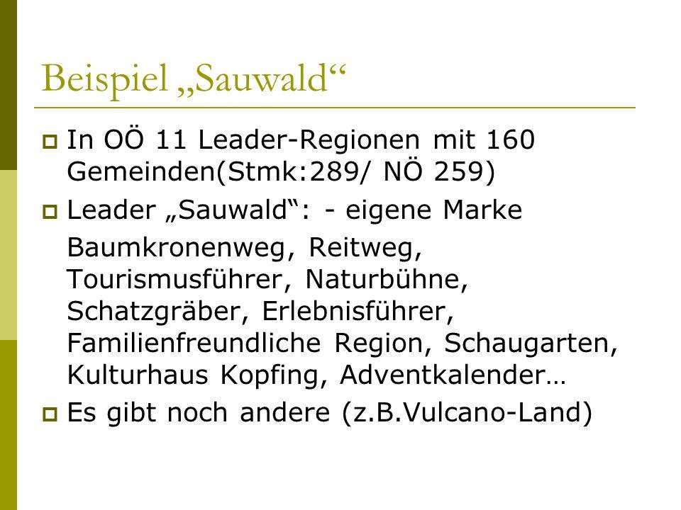 Beispiel Sauwald In OÖ 11 Leader-Regionen mit 160 Gemeinden(Stmk:289/ NÖ 259) Leader Sauwald: - eigene Marke Baumkronenweg, Reitweg, Tourismusführer,