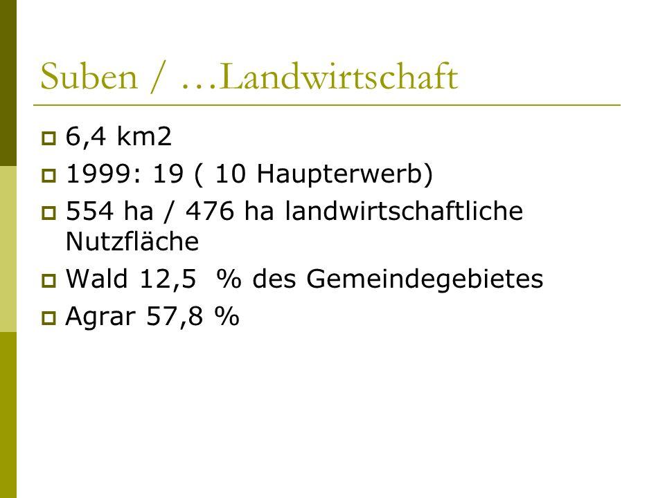 Suben / …Landwirtschaft 6,4 km2 1999: 19 ( 10 Haupterwerb) 554 ha / 476 ha landwirtschaftliche Nutzfläche Wald 12,5 % des Gemeindegebietes Agrar 57,8