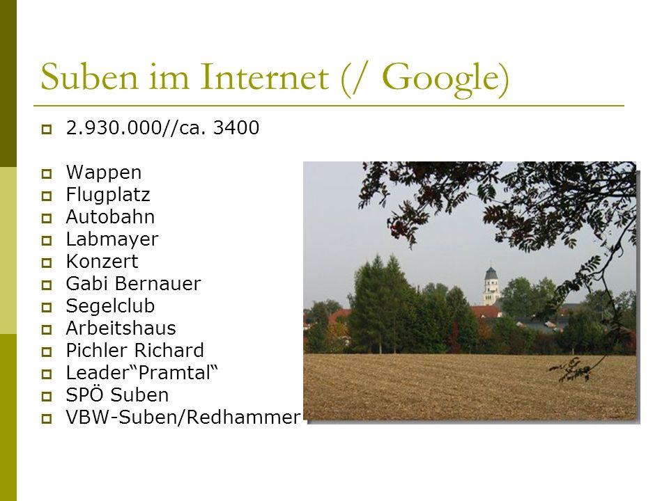 Suben im Internet (/ Google) 2.930.000//ca. 3400 Wappen Flugplatz Autobahn Labmayer Konzert Gabi Bernauer Segelclub Arbeitshaus Pichler Richard Leader