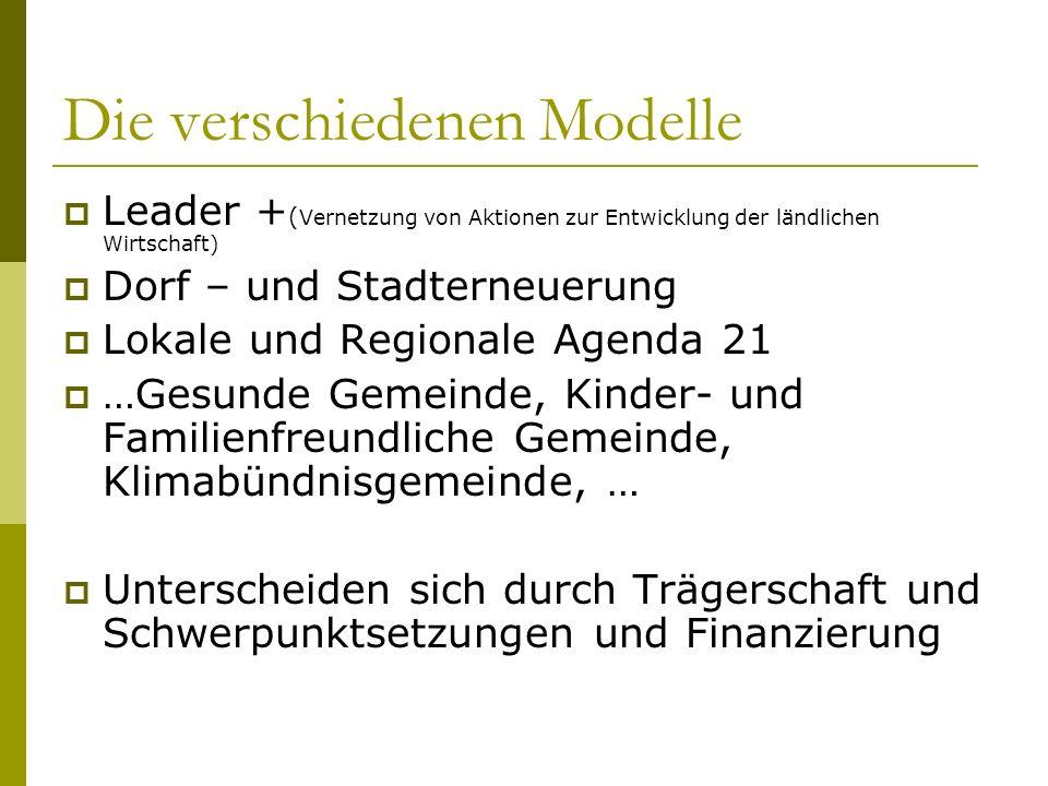 Die verschiedenen Modelle Leader + ( Vernetzung von Aktionen zur Entwicklung der ländlichen Wirtschaft) Dorf – und Stadterneuerung Lokale und Regional