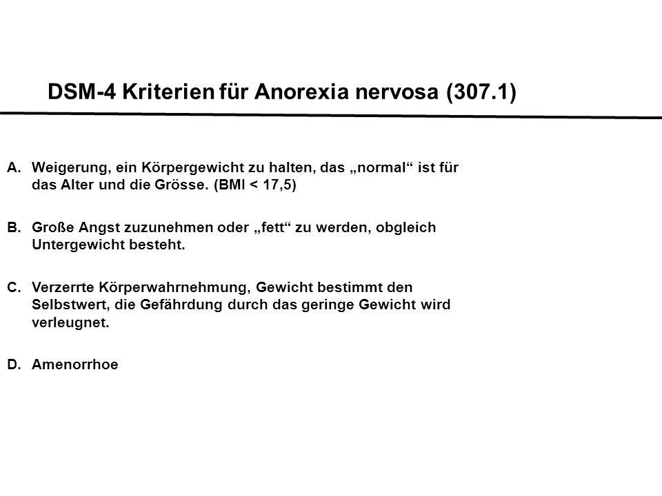 Eating/Purging-Typus: Mit Ess-Brechanfällen DSM-IV Kriterien für Anorexia nervosa (307.1) Restriktiver Typus: Ohne Ess-Brechanfälle Spezifizierung: