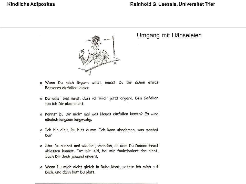 Kindliche AdipositasReinhold G. Laessle, Universität Trier